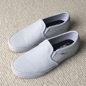 Vans White Classic Slip Ons Size 8
